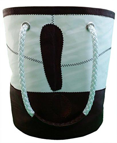 Secchiello: Borsa donna in vela riciclata e pelle con manici in cima e pelle cioccolato
