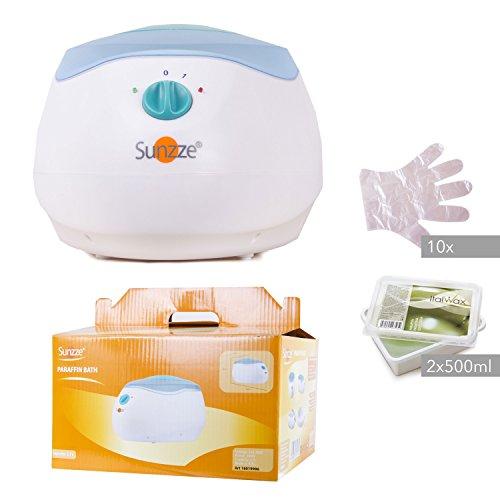 Sunzze Paraffin-Bad Komplett-Set mit Paraffin-Erhitzer PB-200, 1l Paraffinwachs und Plastikhandschuhe. Fördert die Durchblutung, macht die Hände und Füße weich (Olive)