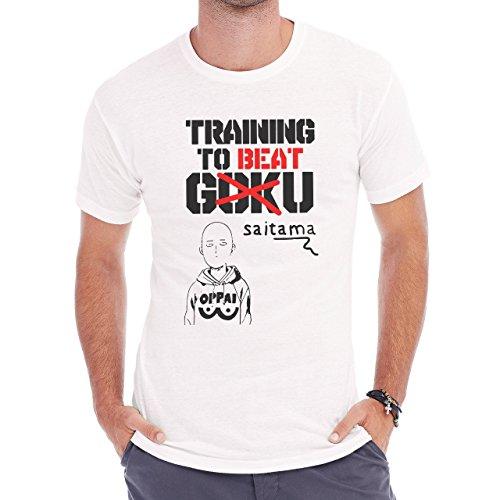 One Punch Man Training To Beat Goku Hard Training Herren T-Shirt Weiß