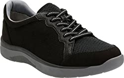 Clarks Womens McKella Nia Sneaker, Black Synthetic Nubuck, US 6 M