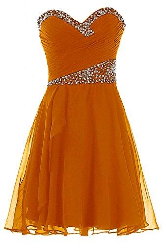 Sunvary Liebling Herzform Traegerlos Strass Abendkleider Kurz Chiffon Cocktailkleider Brautjungfernkleider Partykleider Orange