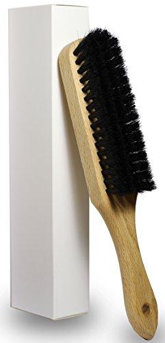 OWLMO® - Praktische Rosshaar-Kleiderbürste mit Stiel | Aufhängerloch | Buchenholz mit klarer Schutzlackierung | 25x4 cm | Ökologisch | Umweltfreundliche Verpackung
