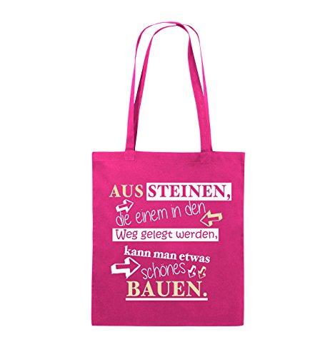 Comedy Bags - Aus Steinen, die einem in den Weg gelegt werden, kann man etwas schönes Bauen. - Jutebeutel - lange Henkel - 38x42cm - Farbe: Schwarz / Weiss-Neongrün Pink / Rosa-Weiss-Beige