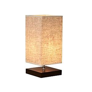 LEDMOMO Holz Tischlampe Mit Vintage Leinenschirm Japanische Nachtlicht Für Schlafzimmer  Kommode Wohnzimmer Babyzimmer Bücherregal
