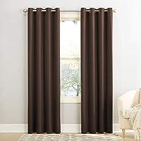 "Sun Zero Barrow Energy Efficient Grommet Curtain Panel,Chocolate Brown,54"" x 63"""
