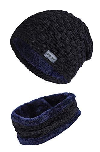 GG ST Winter Beanie Mütze Schal Set Warmen Dicke Knit Hut Skimütze Strickmütze Skull Cap Damen Herren