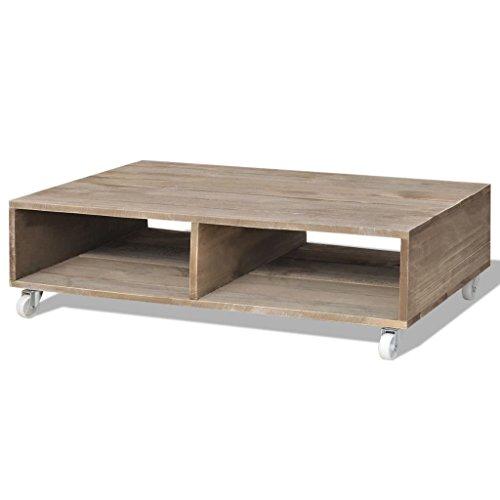 VidaXL Table basse Salon Table d'appoint avec roulette grands compartiments bois massif