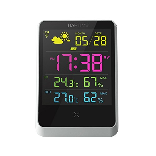 Wireless Digital Alarm Uhr mit großen Nacht Beleuchtung LCD-Bildschirm, Wetterstation Tisch-Uhr mit Temperatur/Luftfeuchtigkeit/Vorhersage