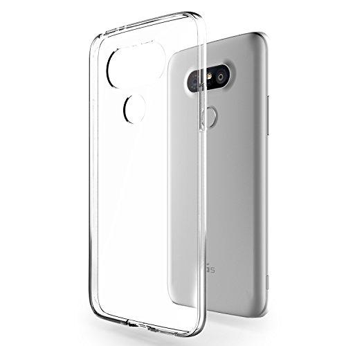 Azorm Handyhülle für LG G5 (5,3 Zoll) Crystal Edition Smartphone Hülle TPU mit Displayschutz und Mikrofasertuch, Anti-Rutsch und Kratzfest - Transparent (Silikon)