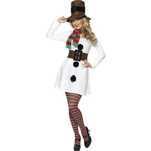 Schneefrau Kostüm Weihnachtskostüm Damen L 44/46 Schneemannkostüm Winterkostüm Schneemann Winter Damenkostüm