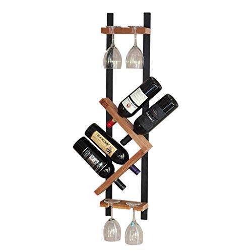 Portabottiglie da parete in ferro battuto nordico, porta bicchieri a calice, 4 bottiglie di vino, 4 bicchieri da vino
