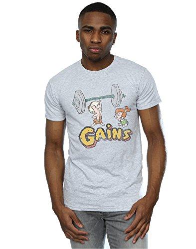 The Flintstones Herren Bam Bam Gains Distressed T-Shirt Medium Sport Grey (Von Flintstones Bam-bam Den)