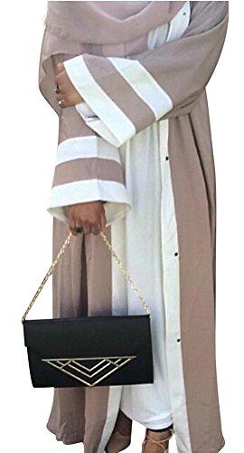 YI HENG MEI Damen Elegante Muslimische Islamische Kleidung Langarm Länge Abaya Abendkleid mit Hijab...