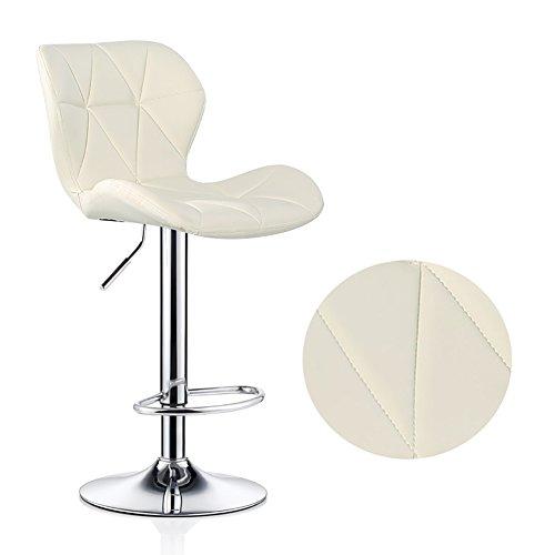 Counter-abdeckung (Rückenlehne Chair Breakfast Hocker mit Crescent Shaped Rückenlehne Verstellbare Höhe Starke verchromte Platte Max. Last 120 kg für Kitchen Bar Counter ( Farbe : Nicht-gerade weiss , größe : 60-80cm ))