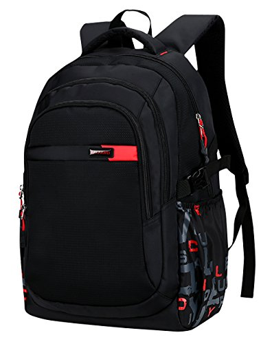 BAIJIAWEI - Mochilas para Escuela para Adolescentes Niños con Gran Capacidad Mochila Escolar Infantil Mochila Casual de Viaje para Hombre Backpack School Bag - 35 L - Rojo