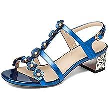 Sandalias de Mujer, Piel Brillante de Strass, tacón bajo y Sandalias Florales,Blue