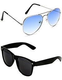 Shara UV Protected Aviator And Wayfarer Unisex Sunglasses Set Of 2 Combo (SHA/AVIBLUEWAYBK)(Blue & Black Lens)