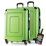 Happy Trolley - 2er Koffer-Set Hartschalen-Koffer Reisekoffer Lugano sehr leicht, TSA, 76cm 113L (2XL), Grün