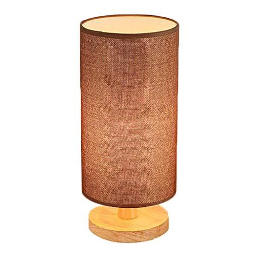 Zylindrische Mini-lampe (E27 Holztischlampe Schlafzimmer Nachttischlampe LED Hanf Seil Schatten, zylindrische Design Mini Tischlampe (Farbe : Braun))
