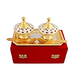 Adidev silver and gold brass dryfruit bowl with serving spoons and serving trays for dinner set and serving sets
