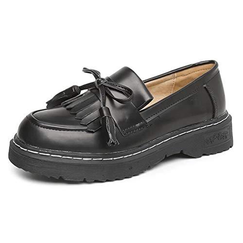 Fringe Vintage Oxfords Zapatos Brogue OtoñO Bowtie Borla ResbalóN En Las Mujeres Pisos Plataforma Calzado Informal