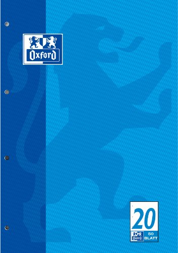 OXFORD 100050354 Schulblock Schule 5er Pack A4 Lineatur 20 - blanko 4-fach gelocht 50 Blatt kopfverleimt Notizblock Schreibblock Papierblock