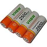 Lot 4 batteries vhbw AA, Mignon, HR6, LR6 2500mAh pour Nikon Coolpix L101, L105, L110, L120, L310, L320, L330, L610, L620, L810, L820, L830, P50, P60