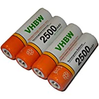 vhbw 4 x AA, Mignon, HR6, LR6 batería 2500mAh para Sony Cyber-shot DSC-H1, DSC-H2, DSC-H5, DSC-H200, DSC-H300, DSC-P31, DSC-P32, DSC-P41