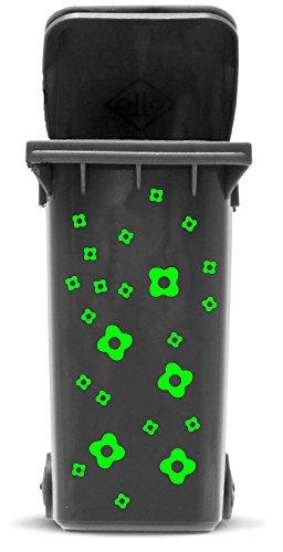 *Mülltonnen Aufkleber Set: Blüten – 23 Blütenaufkleber in zwei Größen (4,5cm und 2,5cm) zum Dekorieren Ihrer Mülltonne oder anderen glatten Oberfläche | 16 Farben zur Auswahl, Schriftfarbe:hellgrün*