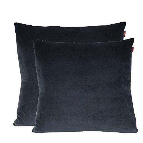 shinnwa Samt Super Weich dekorativer Überwurf-Kissenbezug Massiv Twin Seite Kissen für Stuhl, 45,7x 45,7cm, 100 % Polyester, grau, 18