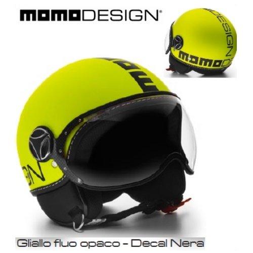 MOMO Design CASCO DEMI JET FIGHTER FLUO GIALLO FROST/NERO TAGLIA M