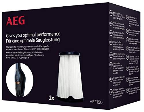 AEG AEF150 Filterset für CX7-2 (Doppelpack, Innenfilter, Staubsauger Filter, optimale Saugleistung und Filtrationsleistung, regelmäßiger Filtertausch, einfache Reinigung und Austausch, schwarz/weiß)
