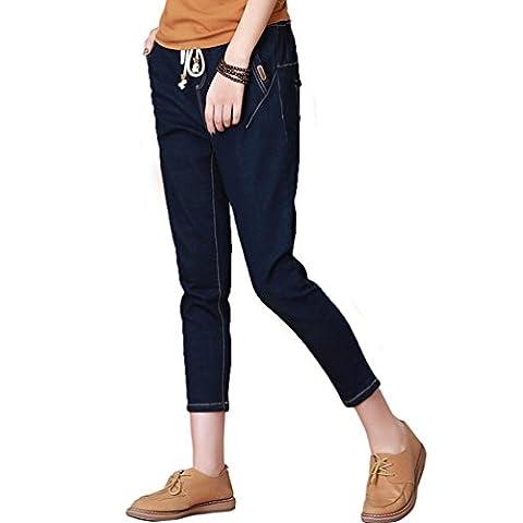 YOUJIA Womens Cropped Denim Pants Elastic Drawstring Skinny Jeans 7/8