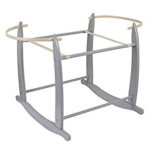Clair de Lune Deluxe Rocking Moses Basket Stand (Grey)
