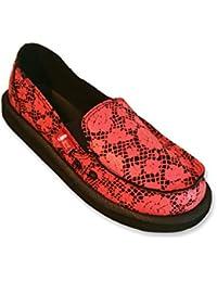 Zapatillas de mujer en lona negra con estampado de encaje coral - Slip On de mujer WAX BY YULIS