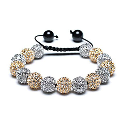 Bling Jewelry Bracelet Style Shamballa Perles Dorées et Argentées Cristaux 12mm