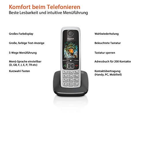 Gigaset C430A Telefon – Schnurlostelefon / Mobilteil – mit TFT-Farbdisplay / Dect-Telefon – mit Anrufbeantworter – Freisprechfunktion – Analog Telefon – Schwarz - 3
