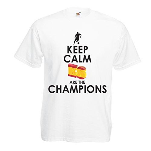 Maglietta da uomo gli spagnoli sono i campioni, il campionato di russia il 2018, la coppa mondiale - la squadra di calcio di camicia di ammiratore della spagna (xx-large bianco multicolore)