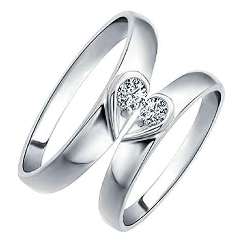 Gnzoe Bijoux, Mariage Bague Bande Femme Correspondant Anneaux CZ Coeur Puzzle Anneaux 4mm Taille 51.5, Silver