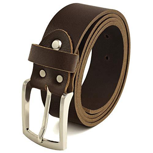 Fa.Volmer  Herren Ledergürtel aus Büffelleder, 38mm breit und ca. 3-4mm stark, kürzbar dunkel-braun #GBr40Narb (Bundweite 135 cm)