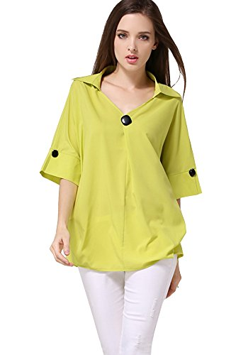 ONECHANCE Frauen Dolman Cape Ärmel V-Ausschnitt Lose Tops Lässige Bluse Pullover Grün