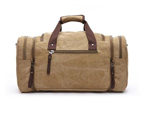 Wewod Hohe Kapazität Unisex Leinwand Handtasche Weekender Handgepäck Reisetasche diese faltbare, 35l große Reisetasche ist beständig (Kaffee) Khaki