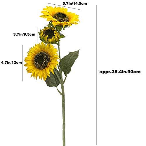Aisamco 3 Künstliche Sonnenblumen Beflockung Govine Künstliche Blumen Gefälschte Blumen 3 Stiele in 30 'hohem Blumenarrangement Hoch Pflanzenstängel Grün für Hochzeit