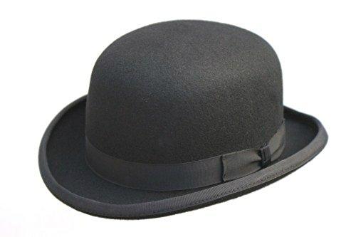 AB Melone (Hut) in schwarz, aus reiner Wolle mit Satininnenfutter, in 4 verschiedenen Größen erhältlich; mit abnehmbarer Feder Gr. 55 cm, Schwarz