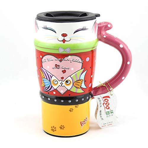 CJH Couple créatif tasse chat peint tasse animal mignon tasse avec couvercle avec cuillère tasse de café en céramique baiser poisson