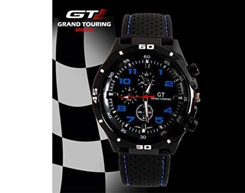 Grand Touring Sportuhr mit topaktuellen blauen Ziffern - Edelstahl mit High Quality Kautschuk - Präzessionsuhrwerk - Analog