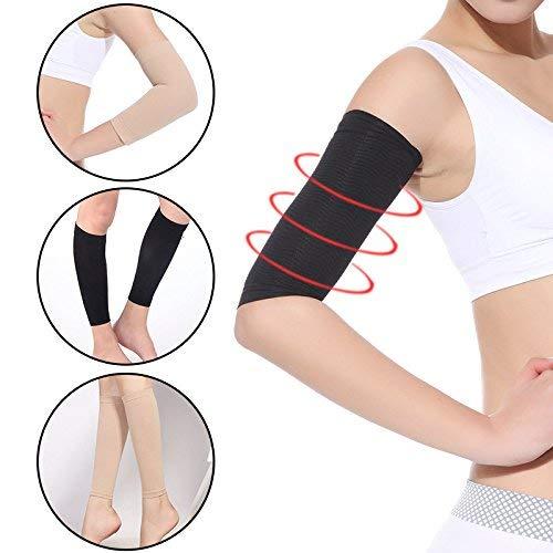 Leoie 2 Pcs Women Weight Loss Thin Arm Fat Slimmer Wrap Elasticity Belt Arms Sleeve skin color