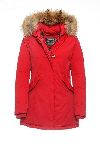 Basic.de Damen-Parka Echtfell Winter-Jacke Rot S