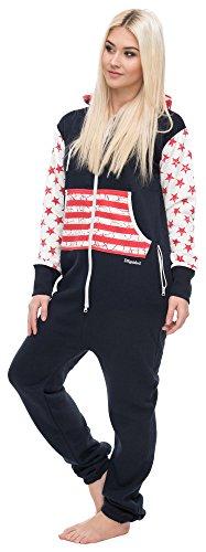 Loomiloo® Jumpsuit Freizeitanzug Overall Hausanzug Einteiler Strampler Anzug Pyjama Sonntag (L, USA Dunkelblau)
