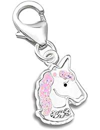 Charm Anhänger K406o Rosa Glitzer Kristall Zirkonia Einhorn Pferd für Armbänder 925er 925 Echt Silber Mädchen Geschenkidee Sterlingsilber
